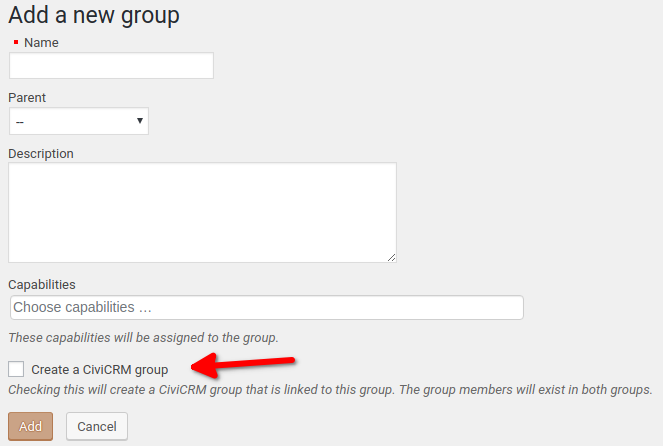 Adding WP group option for CiviCRM
